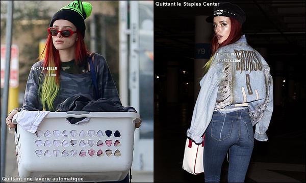 15/11/16 : Bella et sa soeur Dani ont été aperçues quittant leur cours de sport qui s'est déroulé à Hollywood. Les deux soeurs ont décidé de changer de tête. En effet, elles ont les cheveux rouges avec les pointes vertes. Vous aimez ou pas ?[/font=Arial]