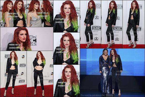 20/11/16 : Miss Bella et Dani ont posé sur le red carpet des 2016 American Music Awards, à Los Angeles. Bella était très jolie et a osé la tenue sans haut. Elle était rayonnante, ça fait plaisir à voir. Je lui accorde donc un top. Et pour vous ?[/font=Arial]