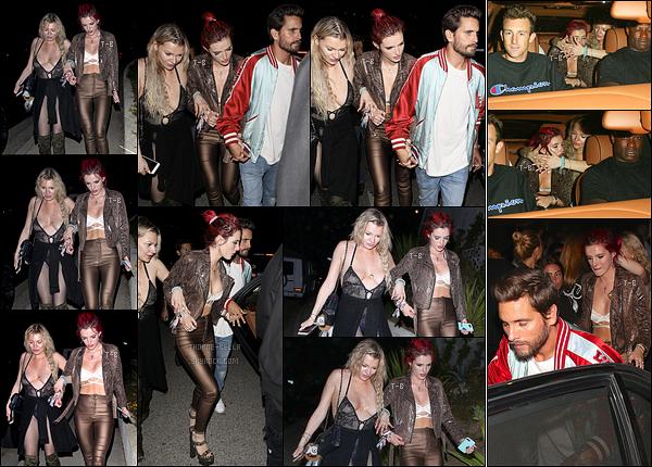 22/06/17 : Le soir, Bella a été vue quittant l'anniversaire de Lana Del Rey au Night Club 10AK dans Los Angeles. Bella était accompagnée de Lo Jeannee, une de ses amies, et étrangement de Scott Disick main dans la main. Et Gregg dans tout ça ?[/font=Arial]