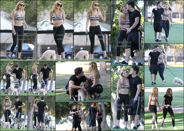 15/07/15 : C'est en compagnie de son chéri, Gregg Sulkin, que Bella a été repérée dans un parc de Los Angeles. Ils ont été rejoint par la meilleure amie de Bella. Concernant la tenue de cette dernière, j'aime bien. Et ils sont toujours aussi amoureux ![/font=Arial]