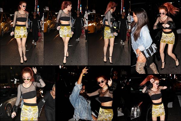 11/09/17 : La miss Thorne a été aperçue alors qu'elle se rendait à l'after-party de Rihanna, dans - New York. Dernière soirée à New York pour la belle actrice. Concernant la tenue, je ne sais pas trop si j'aime ou non. Et toi, qu'en penses-tu ?[/font=Arial]