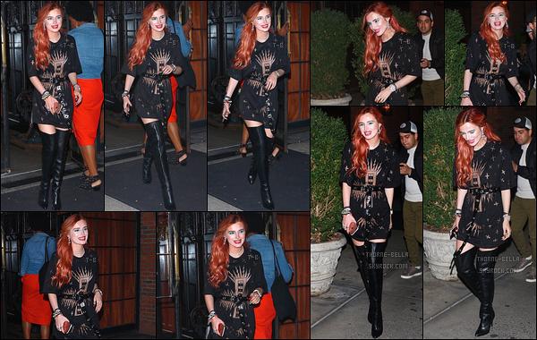 07/09/17 : Bella a été aperçue quittant son hôtel, le Bowery, pour se rendre à un événement, à Brooklyn. (NY) C'est toute souriante que nous retrouvons notre actrice. J'aime sa tenue même si le dos transparent n'est pas trop à mon goût. Toi ?[/font=Arial]