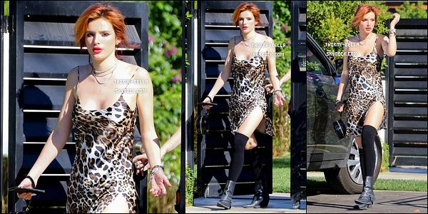 06/11/17 : La miss Bella a été vue regagnant son domicile après avoir été se balader en ville, dans Studio City. Pour le coup, B' portait un bas de jogging. Mais étrangement, j'aime bien sa tenue sauf les chaussettes. Et, le gris lui va bien au teint.[/font=Arial]