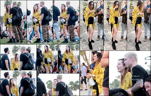 14/04/19 : Comme plusieurs célébrités, Bella Thorne s'est rendue au festival de musique Coachella dans Indio. Pour l'occasion, elle portait un short noir au-dessus d'une robe jaune. Je trouve l'idée sympa mais je n'aime pas ses chaussures. - Avis ?[/font=Arial]