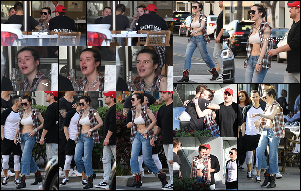 30/03/19 : Bella Thorne a rejoint des amis afin d'aller déjeuner dans un restaurant de la ville de Los Angeles. Elle semblait ravir de retrouver ses amis et elle semblait passer un bon moment. Ca fait très plaisir de la voir souriante ! Mais un flop ![/font=Arial]