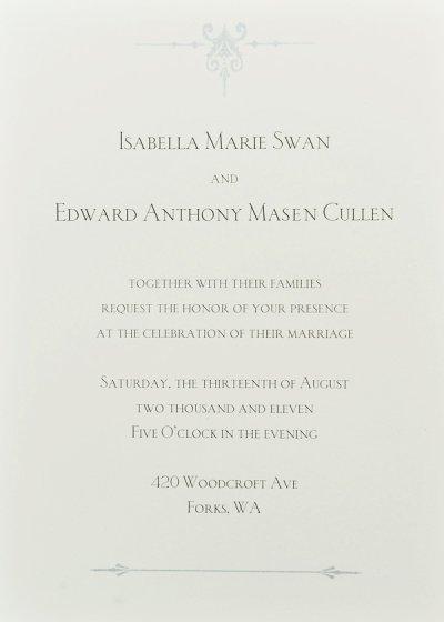 Passage Twilight 4, affiches et invitation au mariage