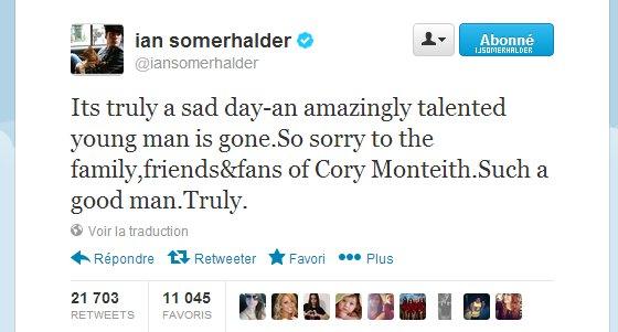 Ian laisse un message sur twitter a l'attention de Cory Monteith. | le 14 juillet 2013.