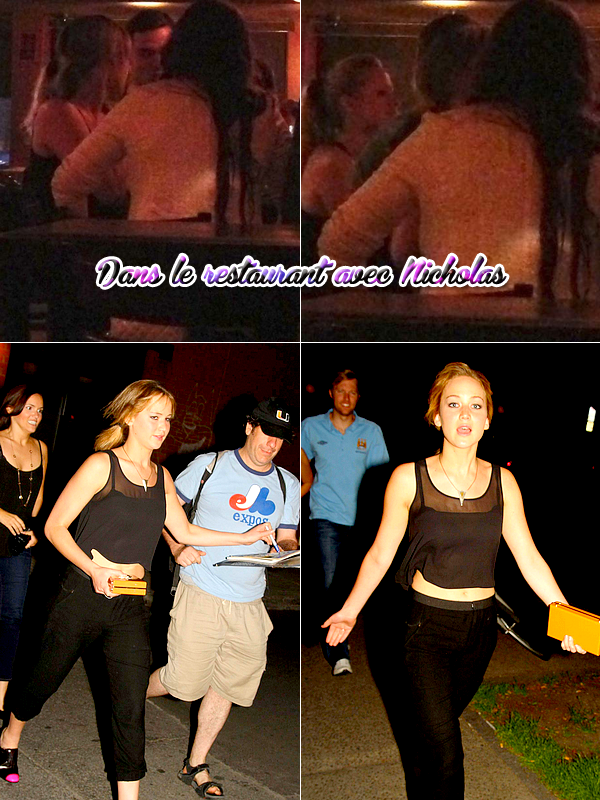 . LE6JUILLET, Jennifer a été vue à la sortie d'un restaurant. Et également dans un restaurant en compagnie de l'acteur Nicholas Hoult. Un petit break dans le tournage de X-Men !