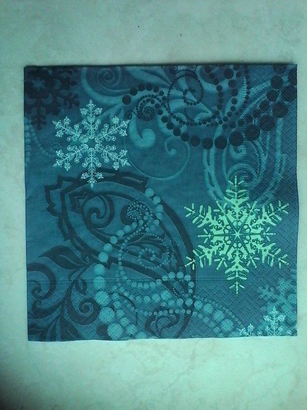 """Serviette en papier Monde hivernale """"Flocons et point vert"""""""