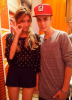 Justin with a fan in Japan