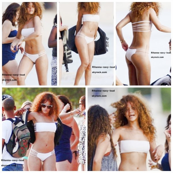 Rihanna on the beach in Barbados