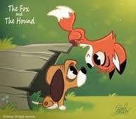 Un renard et un chien qui jouaient encemble.