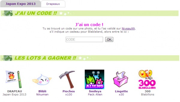 Les codes de Japan expo 2013