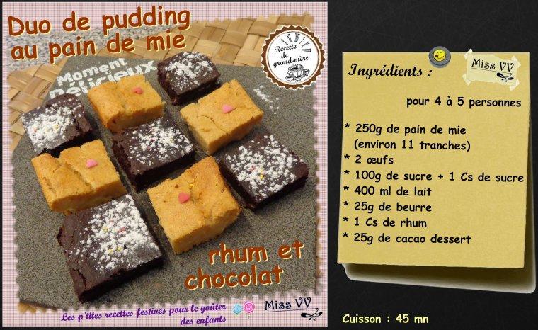 duo de pudding au pain de mie pour les enfants les p 39 tites recettes gourmandes de miss vv. Black Bedroom Furniture Sets. Home Design Ideas