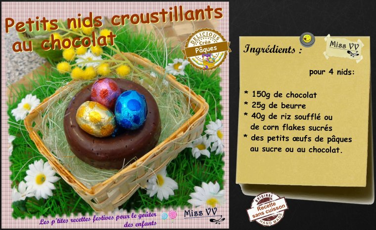 PETITS NIDS CROUSTILLANTS AU CHOCOLAT ( POUR LES ENFANTS )