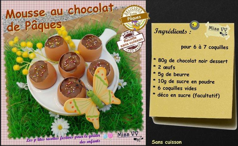 MOUSSE AU CHOCOLAT DE PAQUES ( POUR LES ENFANTS )