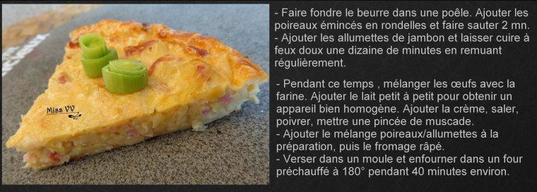 QUICHE SANS PATE AUX POIREAUX/LARDONS, ALLEGEE ( POUR LES MAMANS )