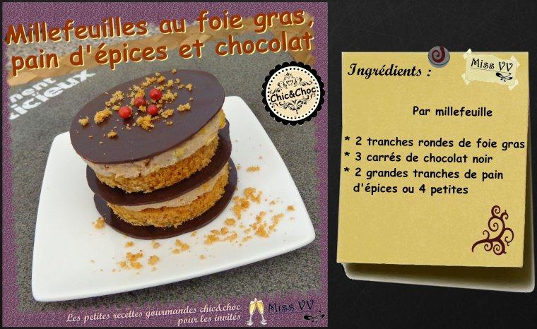 MILLEFEUILLES AU FOIE GRAS, PAIN D'EPICES ET CHOCOLAT ( POUR LES INVITES)