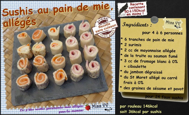 SUSHIS AU PAIN DE MIE, ALLEGES ( POUR LES MAMANS )