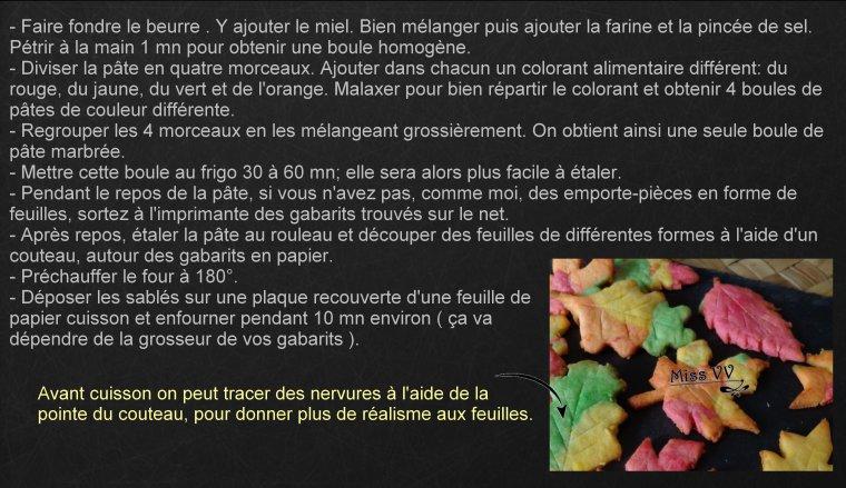 SABLES AU MIEL, AUX COULEURS DE L'AUTOMNE ( POUR LES ENFANTS )