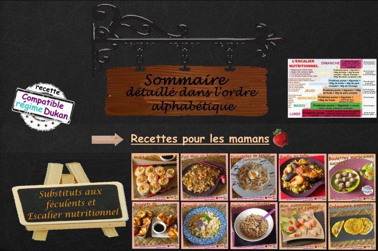 SOMMAIRE détaillé DES RECETTES DUKAN; SUBSTITUTS et ESCALIER NUTRITIONNEL ( POUR LES MAMANS )