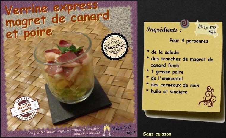 VERRINE EXPRESS MAGRET DE CANARD et POIRE ( POUR LES INVITES)