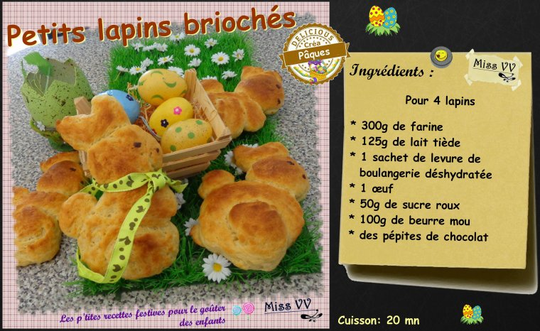 PETITS LAPINS BRIOCHES ( POUR LES ENFANTS )