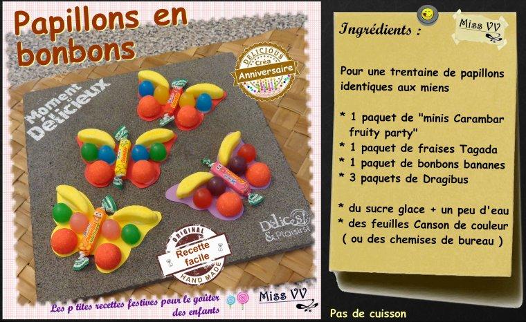 PAPILLONS EN BONBONS ( POUR LES ENFANTS )