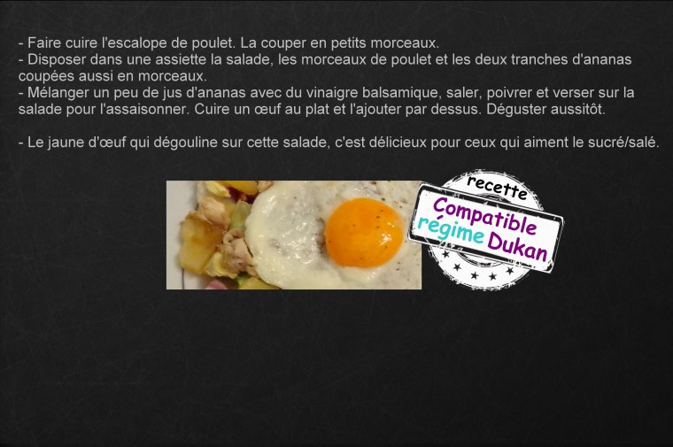 SALADE POULET / ANANAS / OEUF ( POUR LES MAMANS )