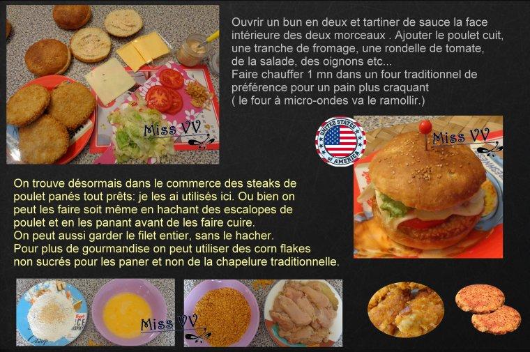 HAMBURGER MAISON AU POULET PANé ( sauce + bun ) ( POUR LES ENFANTS )