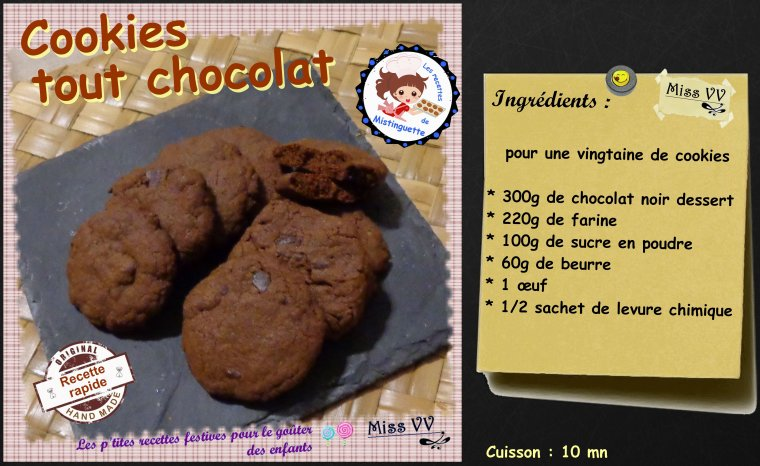 COOKIES TOUT CHOCOLAT ( POUR LES ENFANTS )