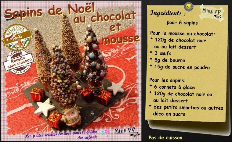 SAPINS DE NOEL au CHOCOLAT et MOUSSE ( POUR LES ENFANTS )