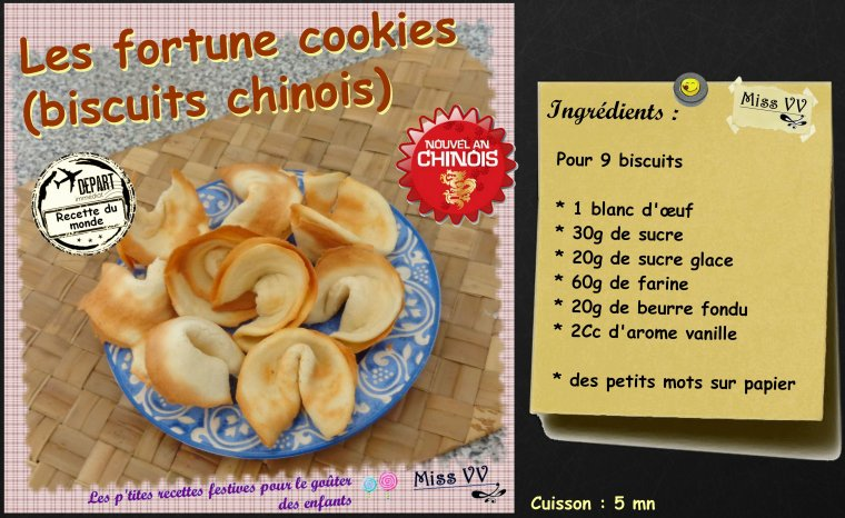 FORTUNE COOKIES / BISCUITS CHINOIS ( pour les enfants)
