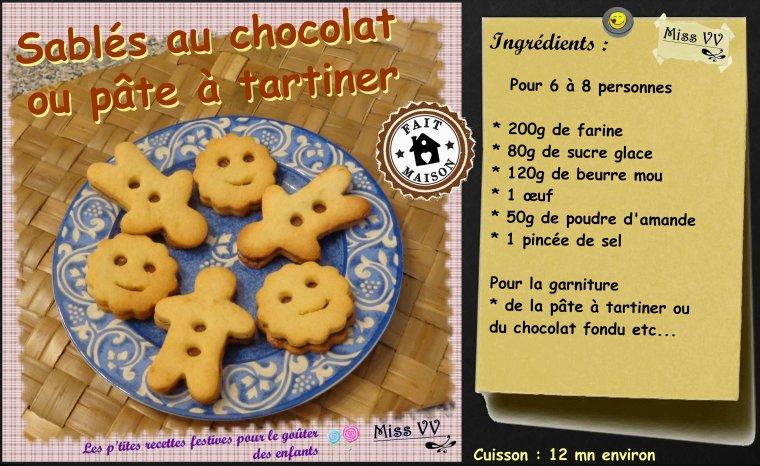 SABLES AU CHOCOLAT ou NUTELLA ( pour les enfants )