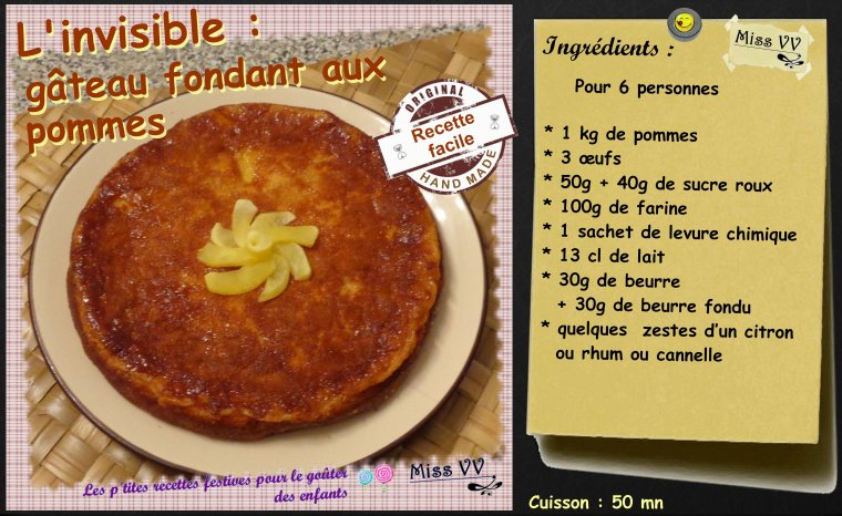 L'INVISIBLE ( gâteau fondant aux pommes ) pour les enfants
