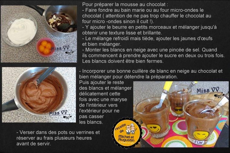 MOUSSE AU CHOCOLAT montée en pettis gâteaux individuels ( POUR LES ENFANTS )