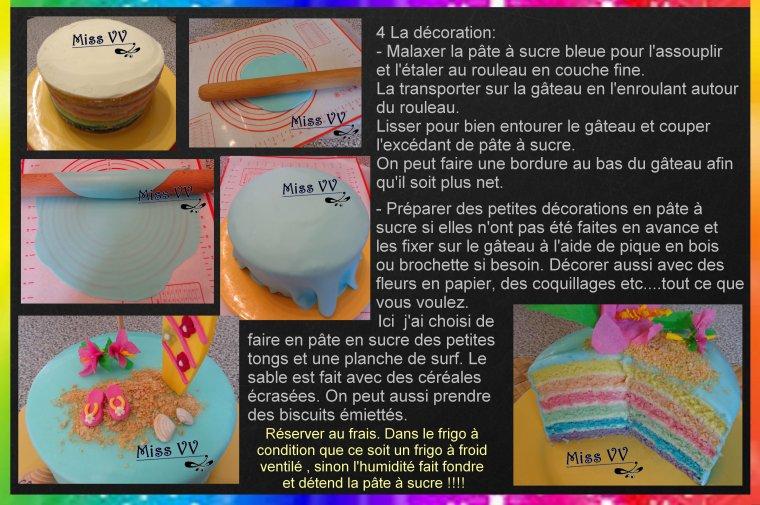 RAINBOW CAKE / anniversaire plage sous les cocotiers / Hawai bis ( pour les enfants )