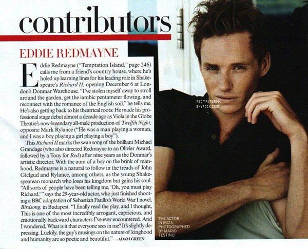 .Eddie pour Vogue US (décembre 2011) à Ibiza avec Karlie Kloss. + Glamour US (septembre 2011) à Londres. Donnez votre avis !  .