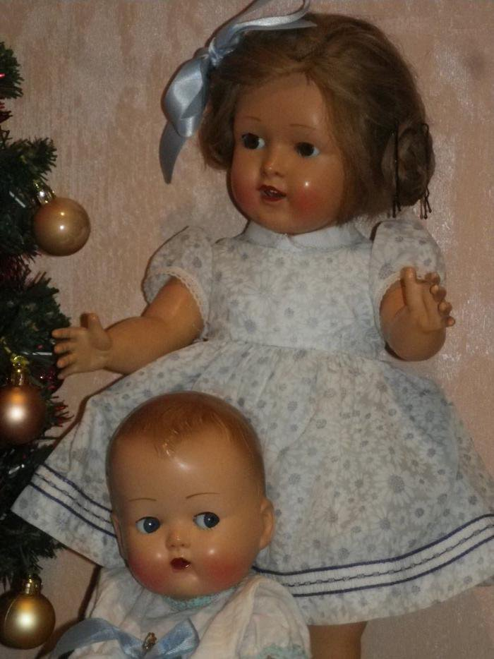 SOPHIE 1956  42 cms et Caroline le Bébé Ideal 1957  33 cms