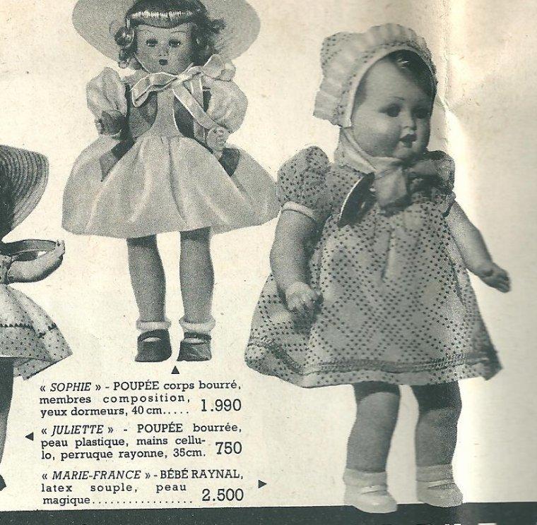 """poupée RAYNAL """"Marie-France""""  en peau magique  1952"""