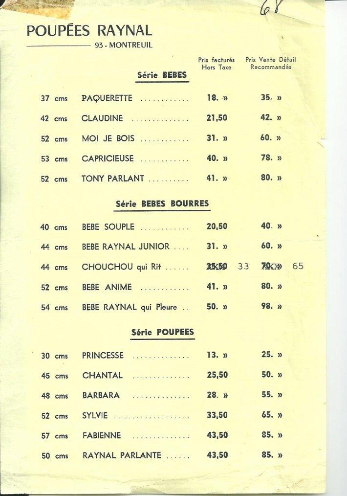 RAYNAL  catalogue des prix de 1968