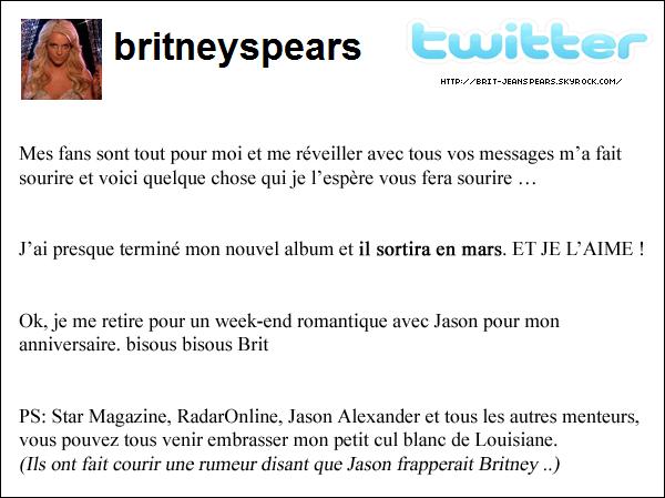 . Le site MuuMuse vient d'annoncer que le nouveau single de Britney sera disponible le 07 janvier ! . Photo du cadeau de la marque Candie's pour les 29 ans de la belle. Hier, les habitants de la ville de Los Angeles ont pu voir un avion survoler la ville avec le message suivant écrit sur une banderole : Happy Birthday Britney ! ♥ Candie's. .