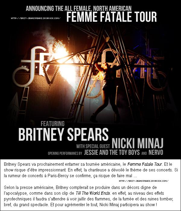 """. Nouveaux tweets de Britney : """"Je pense que je vais faire du thé maison pour tous les invités présents à la Saint Bernard Charité ce mercredi - Britney"""" et """"Envoyez BRITNEY to UNITED au (864833) pour donner 10 $ à la Saint Bernard Charity qui se consacre à la reconstruction des maisons après la tempête Katrina. - Brit"""" et """"Ou allez sur le site de la fondation pour faire votre don - Britney"""". . D'après le classement du site de musique nme.com, la pochette de Baby One More Time arrive en 10ème position sur la liste des 50 plus moches couvertures d'album. . Suite à quelques informations exclusives, le site BreatheHeavy.com affirme à 100% que le prochain single de Britney sera la chanson I Wanna Go. Quand au clip, il sera tourné entre le 25 et 26 mai. ."""