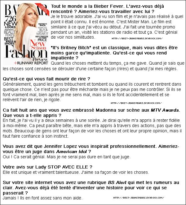 """. Nouveaux tweets de Britney : """"La séance photo pour Harper's Bazaar était incroyable. Nous avons shooté au hidden skate park à Malibu -Brit"""" et """"2 tickets + 1 rencontre pour l'un d'entre vous si vous pouvez devinez la setlist complète du Femme Fatale Tour avec une playlist Youtube. http://bit.ly/j4Yc3U -Brit"""" . Le documentaire """"Femme Fatale"""" produit par MTV sera diffusé demain à 14 h 20 sur MTV France. . La chaine française Direct Star va diffuser un reportage sur Britney """"Britney contre le monde"""", le dimanche 5 juin prochain à 20 h 35. . Nouveau tweet de Chris Marrs Piliero, le réalisateur du clip pour I Wanna Go : """"A tous les fans de Brit… Vous aurez une vidéo géniale avec une Brit' super cool. Ce sera super marrant… Vous allez tous être surpris, je vous le promet !"""" ."""