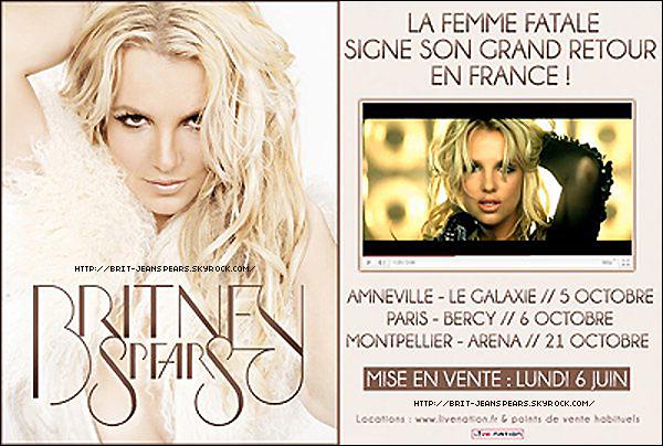 . Découvrez l'affiche officielle de la tournée en France ! Rappelons que Britney passera par Amnéville, Montpellier et Paris en octobre prochain. . Signés Dolce & Gabbana, voici un avant-goût du style des costumes pour le Femme Fatale Tour. .