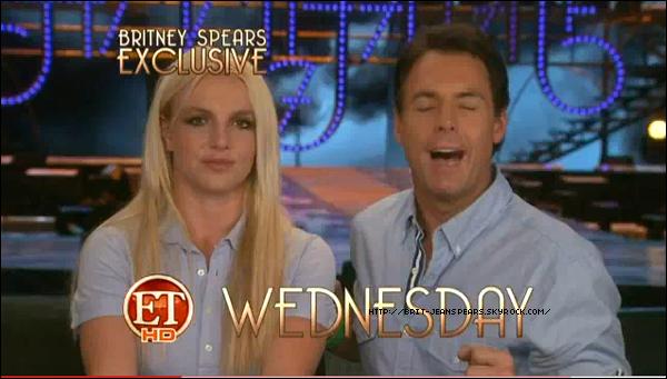 . Vidéo de Britney qui découvre la scène de son Femme Fatale Tour. A croquer ! . Britney et Jason en voiture à Calabasas, le 07 juin. . Découvre 2 extraits vidéos (répétitions + interview) pour Entertainment Tonight ! .