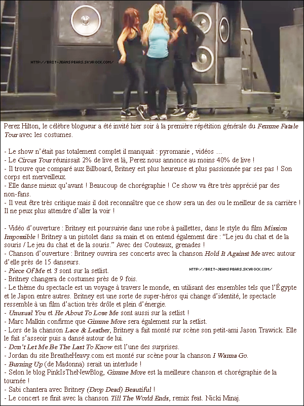 . Encore et toujours plus d'infos sur la tournée. Le Femme Fatale Tour se précise et s'annonce juste GRANDIOSE ♥ .