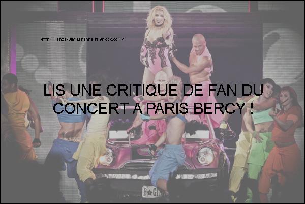 . Britney a été aperçue quittant l'hôtel Westin à Paris pour se rendre à Bercy, le 06 octobre. . Clique sur la photo du Femme Fatale Tour à Paris pour découvrir la critique d'un fan. . Découvre les plus belles photos du Femme Fatale Tour à Paris ! .