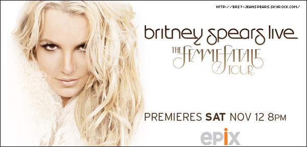 . Et c'est parti pour une nouvelle rumeur ! Cette fois-ci elle concerne un duo entre Britney et la chanteuse Shakira qui pourrait enregistrer une chanson ensemble  qui s'appellerait Are U Killer ? Ce titre serait co-écrit par RedOne et Britney. . Le site officiel de la chaîne EPIX vient d'ajouter le poster officiel du concert filmé à Toronto. . Selon le site BreatheHeavy, un extrait du clip de Criminal serait dévoilé aujourd'hui ! De plus, Jordan, l'admin de ce même site, déclare qu'il aura en exclusivité des extraits du DVD Femme Fatale Tour : Live From Toronto de la part d'Epix HD, car BreatheHeavy serait le fan site préféré de Britney. .