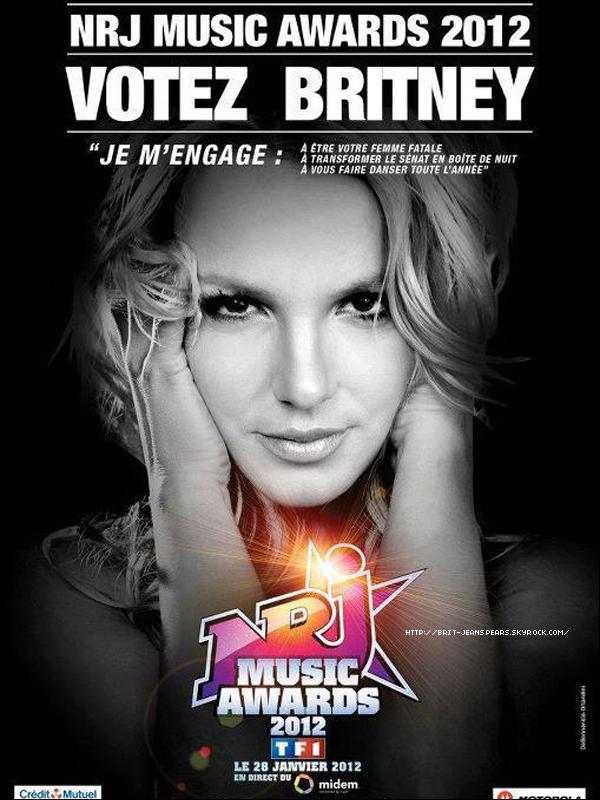 . Découvre l'affiche promo créée par NRJ pour la nomination de Britney aux NRJ Music Awards 2012 ! .